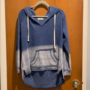 Blue Ombré distressed sweatshirt